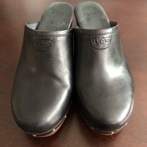 UGG black leather clogs